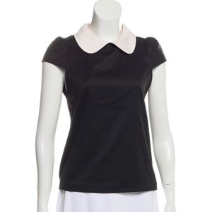 Alice + Olivia Employed Black w/ White Collar Top